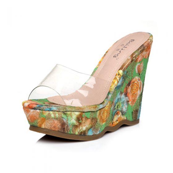 Chic / Beautiful Gradient-Color Womens Sandals Outdoor / Garden 2017 PU High Heels Open / Peep Toe Sandals
