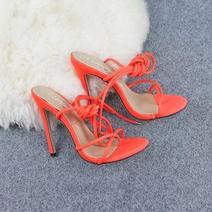 Affordable Orange Casual Womens Sandals 2020 X-Strap 12 cm Stiletto Heels Open / Peep Toe Sandals