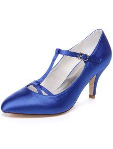 Klasyczne Niebieskie Buty Ślubne 8cm Szpilki Czółenka Satynowe Obuwie Ślubne Z Paskiem Na Kostce