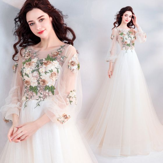 Elegant Champagne Prom Dresses 2019 A-Line / Princess Scoop Neck Beading Lace Flower Appliques Long Sleeve Backless Court Train Formal Dresses