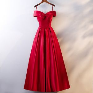 Chic / Beautiful Red Evening Dresses  2019 A-Line / Princess Spaghetti Straps Bow Sleeveless Backless Floor-Length / Long Formal Dresses