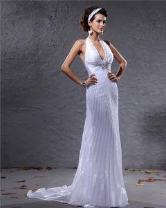 Mode V-ausschnitt Halfter Perlen Gauffer Bodenlange Abendkleid