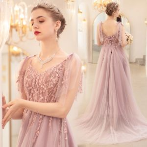 Romantic Blushing Pink Evening Dresses  2020 A-Line / Princess Spaghetti Straps Sleeveless Appliques Lace Beading Sweep Train Ruffle Backless Formal Dresses