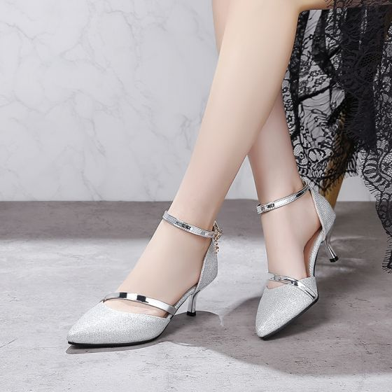Modern / Fashion Silver Pumps 2018 Leather Beading Evening Party Womens Shoes