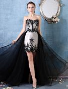 A-line Sweetheart Appliques Lace Detachable Train Asymmetrical Cocktail Dress