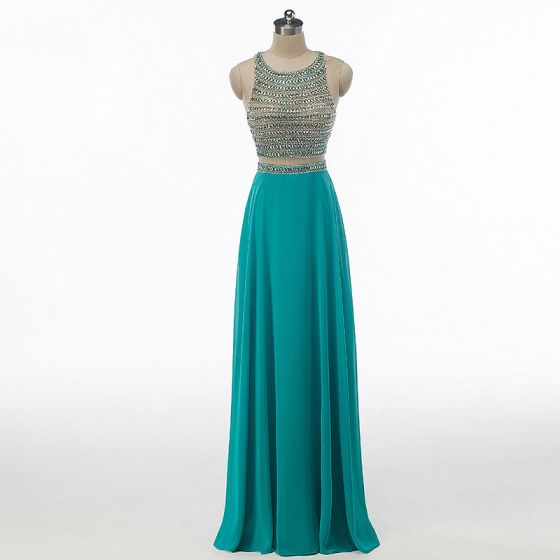 Sparkly Rhinestone Prom Dresses 2017 A-Line / Princess Scoop Neck Sleeveless Heart-shaped Backless Beading Sequins Jade Green Chiffon Floor-Length / Long Formal Dresses