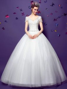 2015 Ball Gown Short Sleeves V-neck Beading Sequins Backless Organza Wedding Dress