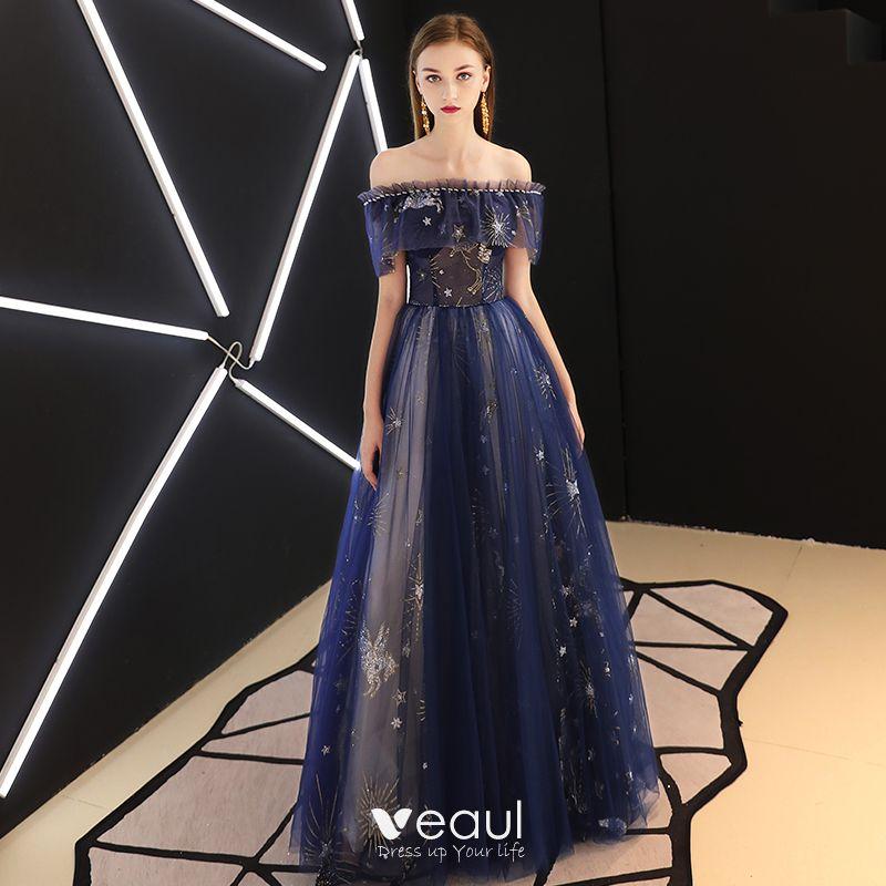 Mode Königliches Blau Abendkleider 2019 A Linie ...