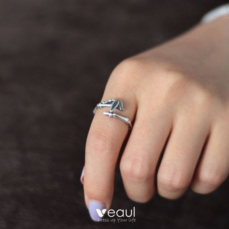 Modest / Simple Silver Leaf Hope Ring Sterling Silver Work Holiday Rings 2019 Accessories