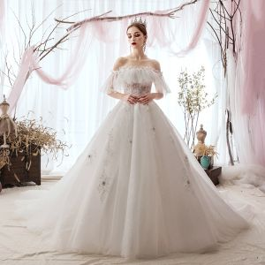 Luxury / Gorgeous Ivory Wedding Dresses 2019 A-Line / Princess Off-The-Shoulder Appliques Lace Flower Pearl Short Sleeve Backless Chapel Train