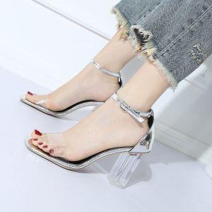 Transparent Silber Freizeit Sandalen Damen 2018 Knöchelriemen 7 cm Thick Heels Peeptoes Sandaletten