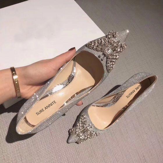 Charmant Argenté Glitter Chaussure De Mariée 2020 Cuir Faux Diamant Papillon 8 cm Talons Aiguilles À Bout Pointu Mariage Escarpins