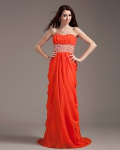 Chiffon Ruffle Sash Floor Length Prom Dress