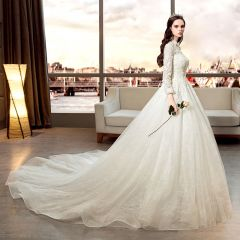 Elegant Ivory Wedding Dresses 2019 A-Line / Princess Scoop Neck Beading Pearl Sequins Lace Flower 3/4 Sleeve Cathedral Train