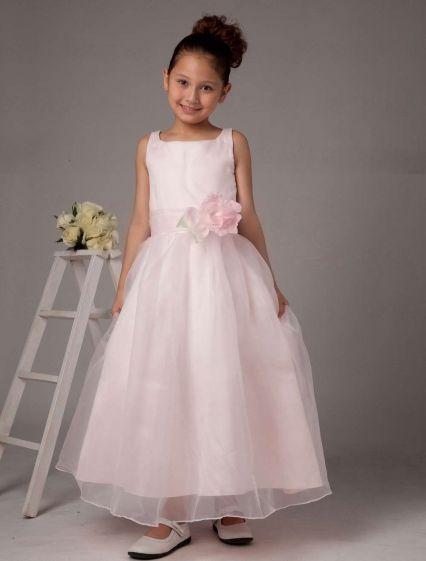 Pink Spaghetti Flower Satin Organza Flower Girl Dress