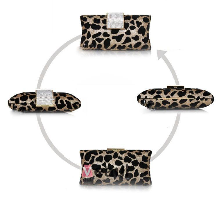 Leopard Bankett Paket Lyxig Atmosfar Aftonväska Diamant Clutch Väska
