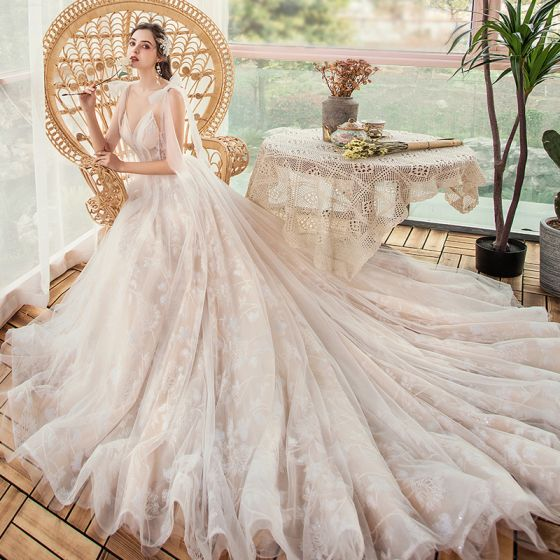 Champagne Outdoor / Garden Light Wedding Dresses 2020 A-Line / Princess Spaghetti Straps Sleeveless Backless Appliques Sequins Glitter Tulle Court Train Ruffle