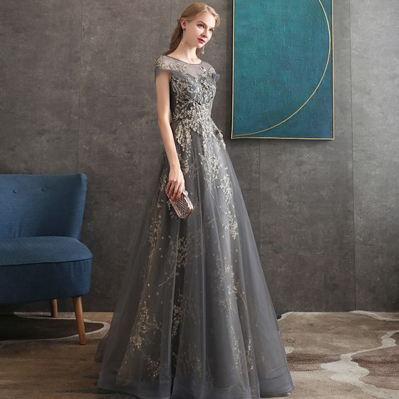Elegant Grey Evening Dresses  2020 A-Line / Princess See-through Scoop Neck Short Sleeve Beading Glitter Tulle Sweep Train Ruffle Backless Formal Dresses