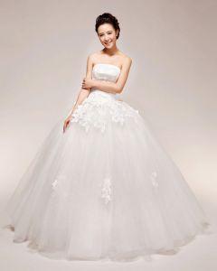 Gracios Applikationer Beading Axelbandslos Satin Balklänning Brudklänningar Bröllopsklänningar