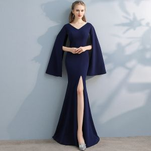 Amazing / Unique Navy Blue Evening Dresses  2017 Trumpet / Mermaid V-Neck Long Sleeve Floor-Length / Long Split Front Formal Dresses