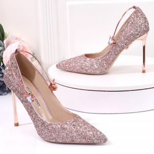 Sparkly Rose Gold Sequins Wedding Shoes 2020 10 cm Stiletto Heels Pointed Toe Wedding Pumps