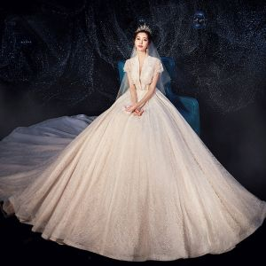 Fabulous Champagne Wedding Dresses 2019 A-Line / Princess High Neck Beading Sequins Lace Flower Short Sleeve Royal Train