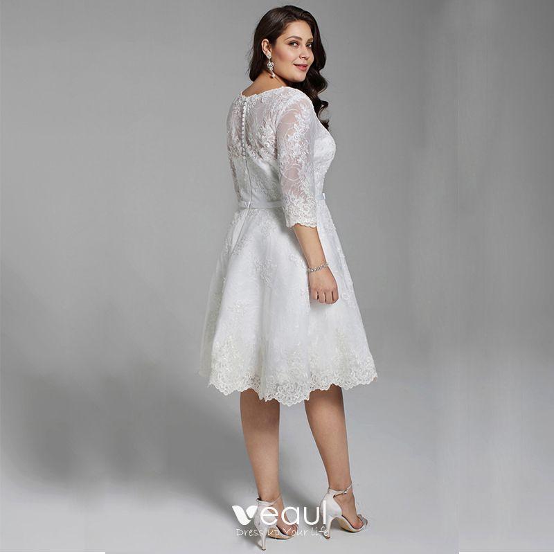 Hermoso Blanco Cortos Talla Extra Vestidos De Novia 2020 A Line Princess V Cuello 12 ærmer Apliques Bordado Hecho A Mano Boda