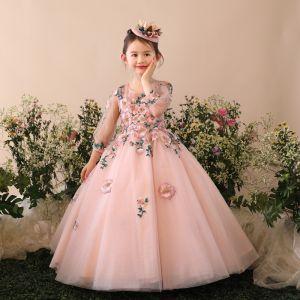 Chic / Belle Église Robe Pour Mariage 2017 Robe Ceremonie Fille Perle Rose Glitter Robe Boule Longue Encolure Dégagée 3/4 Manches Fleur Appliques Perle Faux Diamant