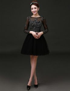 2015 Elegant Scoop Neck Long Sleeves Cocktail Dress/ Little Black Dress