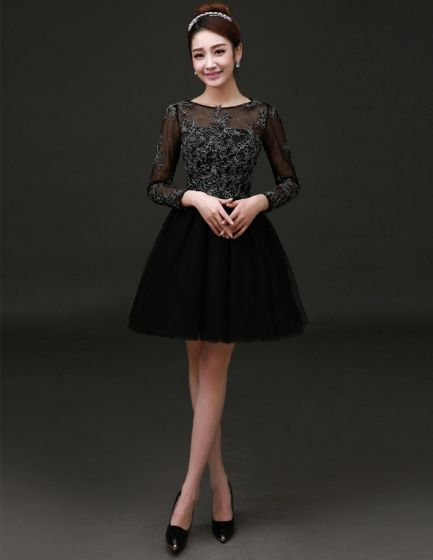 2015 Elegant Scoop Neck Long Sleeves Cocktail Dress/ Little Black Dress