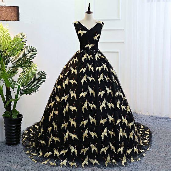 Hermoso Negro Oro Vestidos de gala 2018 Ball Gown Bordado V-Cuello Sin Espalda Sin Mangas Cathedral Train Vestidos Formales