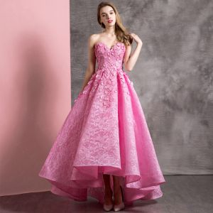 Chic / Beautiful Candy Pink Prom Dresses 2019 A-Line / Princess Sweetheart Lace Appliques Sleeveless Backless Asymmetrical Formal Dresses