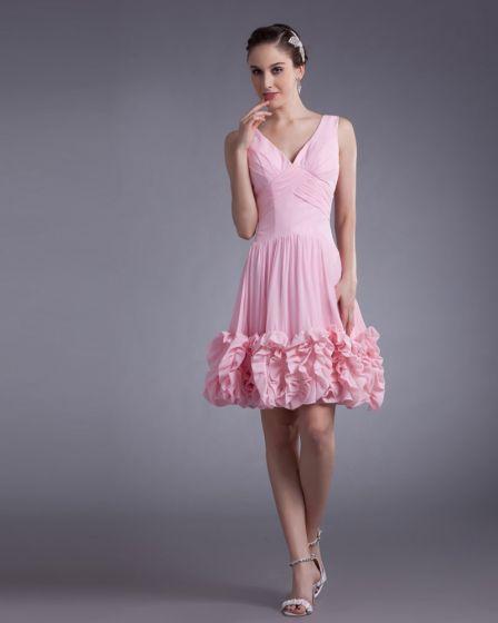 Chiffon- Knielänge Rüschen V-ausschnitt Blumenfrauen Abiballkleider / Abschlusskleider