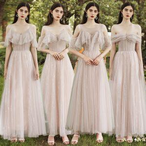Betaalbare Blozen Roze Bruidsmeisjes Jurken 2020 A lijn Korte Mouwen Ruglooze Pailletten Glans Tule Lange Ruche