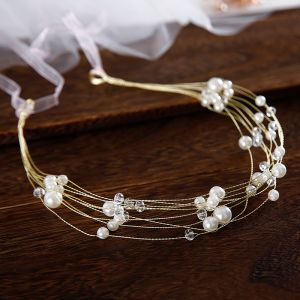 Elegante Gold Stirnbänder Haarschmuck Braut  2020 Perlenstickerei Perle Schnüren Kopfschmuck Hochzeit Brautaccessoires
