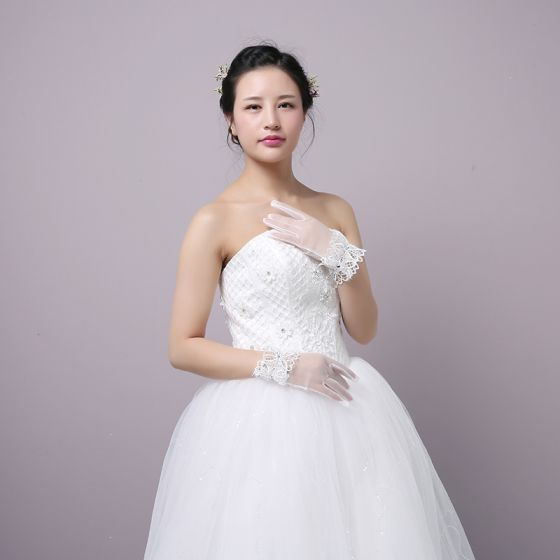 Classic Elegant White Wedding 2018 Tulle Lace-up Beading Crystal Bridal Gloves