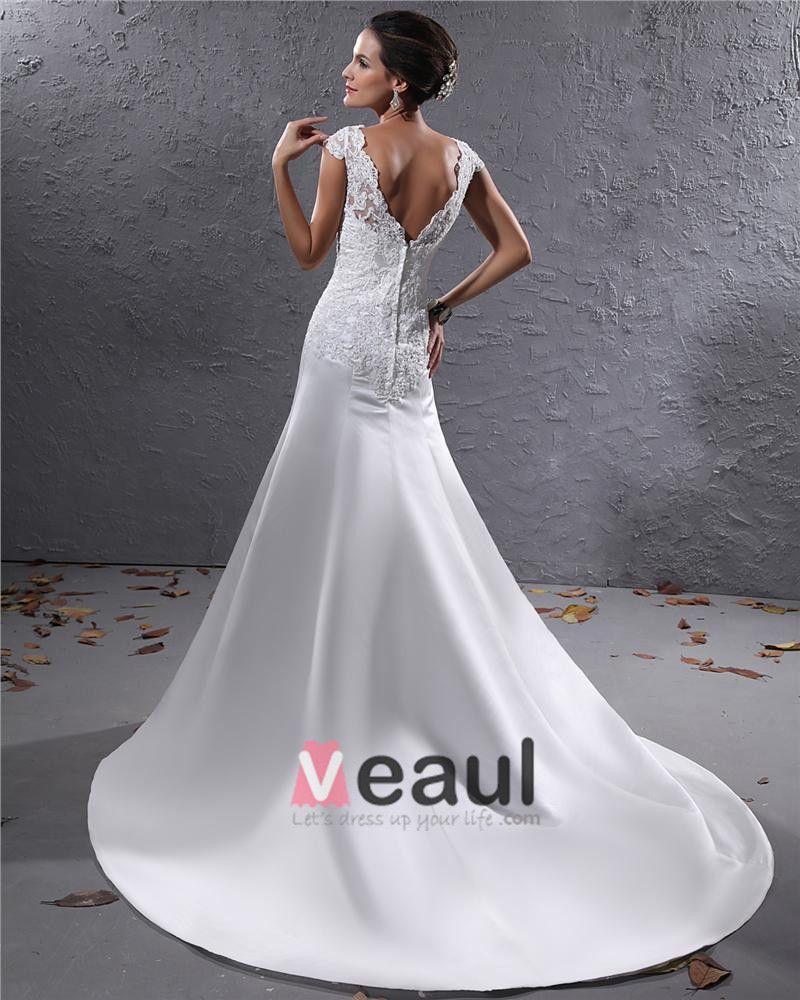 Elegant Satin Applique Beaded V Neck Floor Length Court Train Sheath Wedding Dress