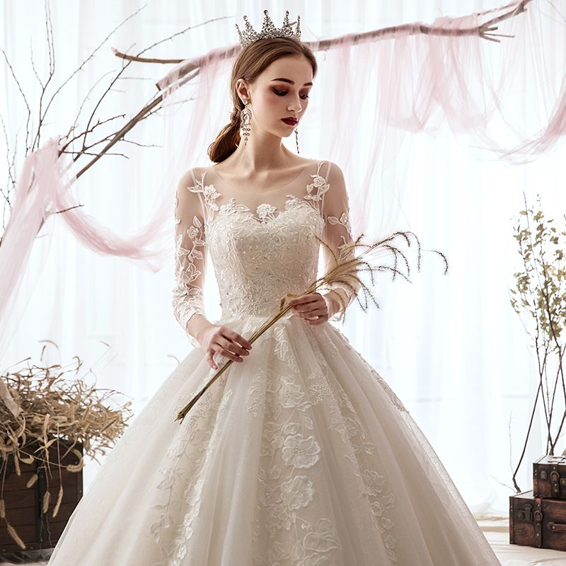 Luxury / Gorgeous Champagne Wedding Dresses 2019 A-Line / Princess Scoop Neck Sequins Lace Flower 3/4 Sleeve Backless Cathedral Train