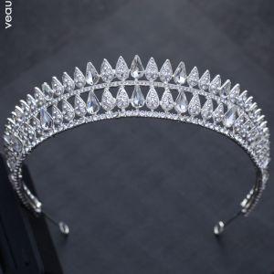 Luxe Zilveren Huwelijk Accessoires 2018 Metaal Rhinestone Tiara
