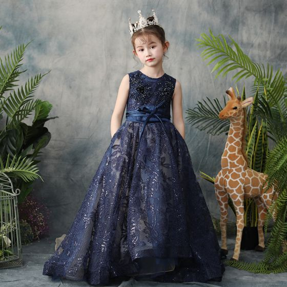 35120fca8 Classy Navy Blue Flower Girl Dresses 2019 A-Line / Princess Scoop Neck  Sleeveless Feather Appliques Lace Beading Glitter Sequins Sash Detachable  ...