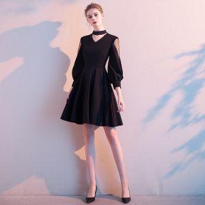Hermoso Negro de fiesta Vestidos de graduación 2020 A-Line / Princess Scoop Escote 3/4 Ærmer Cortos Vestidos Formales