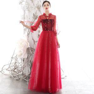 Chic / Belle Rouge Transparentes Robe De Soirée 2020 Princesse Col Haut Gonflée 3/4 Manches Glitter Étoile Longue Volants Dos Nu Robe De Ceremonie