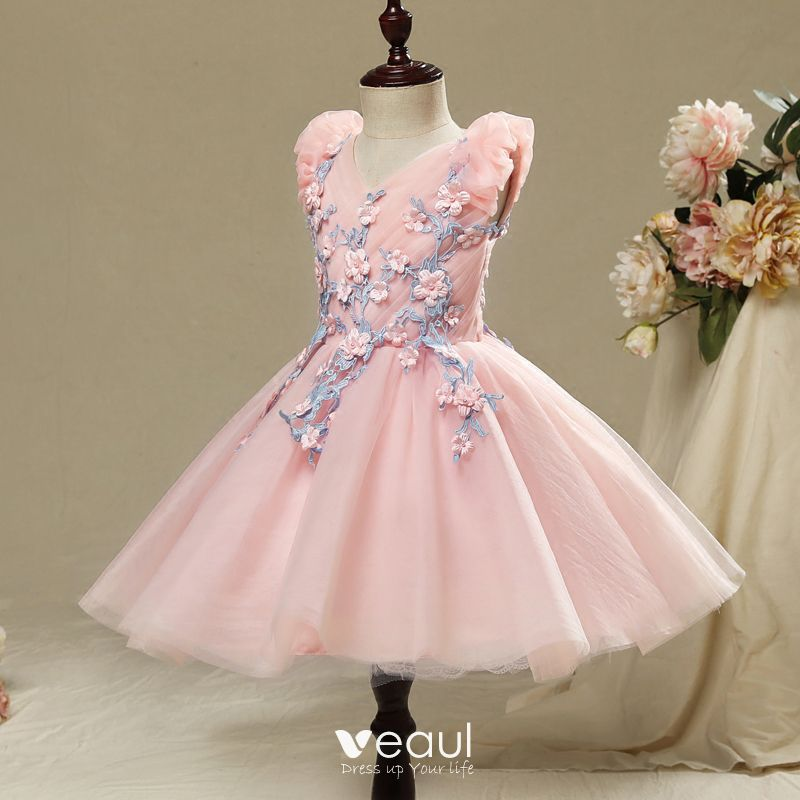 Chic / Beautiful Hall Wedding Party Dresses 2017 Flower Girl Dresses Candy Pink Short Ball Gown Cascading Ruffles V-Neck Sleeveless Flower Appliques Pearl