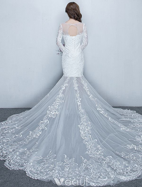 Gorgeous Mermaid Wedding Dresses 2017 Scoop Neckline White Lace Bridal Gowns With Sleeves