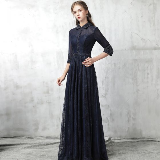 Chinese style Navy Blue Evening Dresses  2017 A-Line / Princess High Neck 3/4 Sleeve Pearl Sash Floor-Length / Long Ruffle Formal Dresses