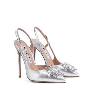 Charmant Silber Abend Sandalen Damen 2020 Knöchelriemen Strass 10 cm Stilettos Spitzschuh Sandaletten