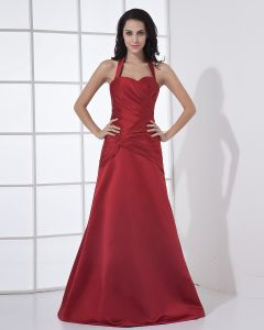 Halter Sleeveless Zipper Pleated Floor Length Satin Woman Bridesmaid Dress