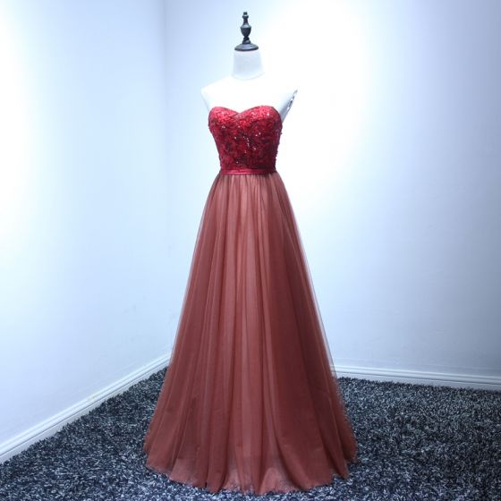 Chic / Beautiful Red Evening Dresses  2017 A-Line / Princess Floor-Length / Long Cascading Ruffles Sweetheart Sleeveless Backless Beading Sequins Lace Appliques Sash Formal Dresses
