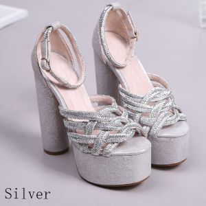 Sparkly Silver 2018 Thick Heels 15 cm Leather Ankle Strap Glitter X-Strap Evening Party Hall Open / Peep Toe Sandals High Heels Womens Shoes