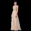 Elegante Champagner Abendkleider 2018 A Linie Pailletten Stoffgürtel Rundhalsausschnitt Kurze Ärmel Lange Festliche Kleider